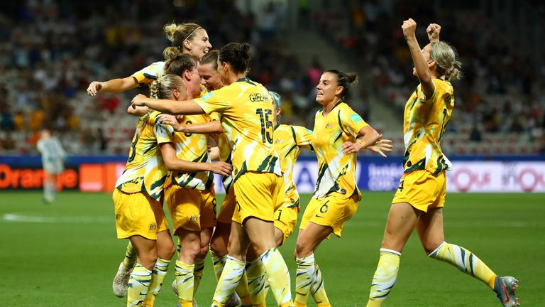 NICE, FRANCE - JUNE 22: Elise Kellond-Knight of Australia celebrates with teammates after scoring her team's first goal during the 2019 FIFA Women's World Cup France Round Of 16 match between Norway and Australia at Stade de Nice on June 22, 2019 in Nice, France. (Photo by Martin Rose/Getty Images )