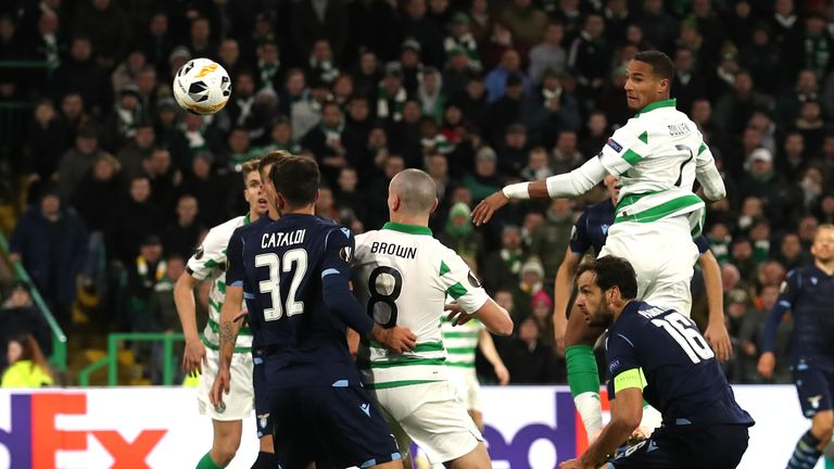 GLASGOW, SCOTLAND - OCTOBER 24: Christopher Jullien of Celtic scores his team's second goal during the UEFA Europa League group E match between Celtic FC and Lazio Roma at Celtic Park on October 24, 2019 in Glasgow, United Kingdom. (Photo by Ian MacNicol/Getty Images)