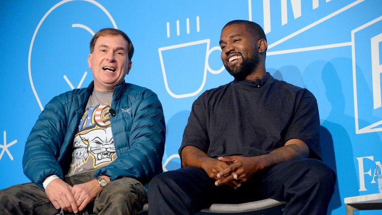 "NEW YORK, NEW YORK - NOVEMBER 07:  Steven Smith and Kanye West speak on stage at the ""Kanye West and Steven Smith in Conversation with Mark Wilson"" at the on November 07, 2019 in New York City. (Photo by Brad Barket/Getty Images for Fast Company)"