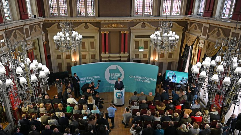 Brexit Party leader Nigel Farage gives a speech in Hartlepool, northeast England, on November 11, 2019 during a general election campaign visit. - Britain will go to the polls on December 12 to vote in a pre-Christmas general election. Farage said in the speech that he won't contest Tory-held seats during the election. (Photo by Paul ELLIS / AFP) (Photo by PAUL ELLIS/AFP via Getty Images)