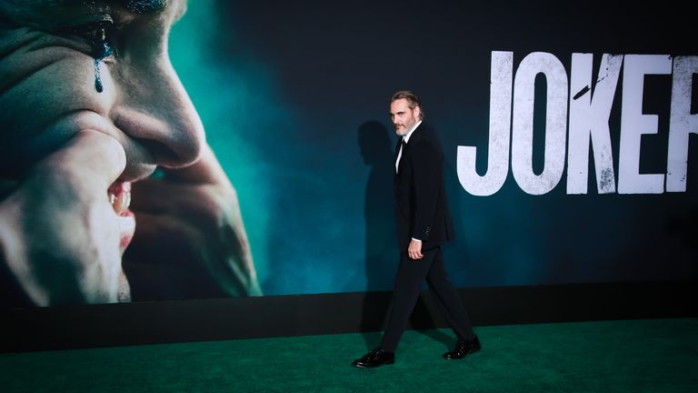 "HOLLYWOOD, CALIFORNIA - SEPTEMBER 28:  Joaquin Phoenix attends the premiere of Warner Bros Pictures ""Joker"" on September 28, 2019 in Hollywood, California. (Photo by Rich Fury/Getty Images)"
