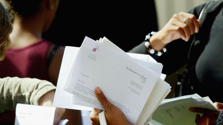 LONDON, ENGLAND - AUGUST 19: Pupils from St Dunstans College open their A-level exams results, August 19, 2004 in London. Record numbers of students passed the examinations which form the basis of university entrance qualifications in the UK. (Photo by Graeme Robertson/Getty Images)