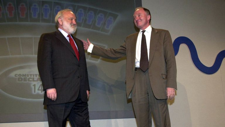 Independent candidate Ken Livingstone arrives on the stage with Labour candidate Frank Dobson (R) before the results of the election were announced at the Queen Elizabeth II Conference Centre in London.  *  Livingstone the newly elected Mayor won a total of 776,427 votes to 564,137 for Conservative candidate Steve Norris after the other candidates were eliminated in a first round of counting.