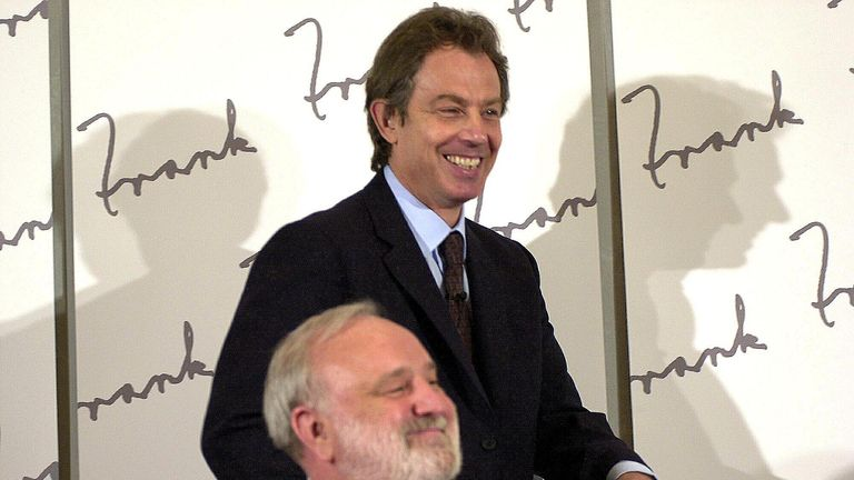 File photo dated 12/04/00 of the then prime minister Tony Blair and former Labour Health Secretary Frank Dobson. Mr Dobson has died aged 79, his family has announced.