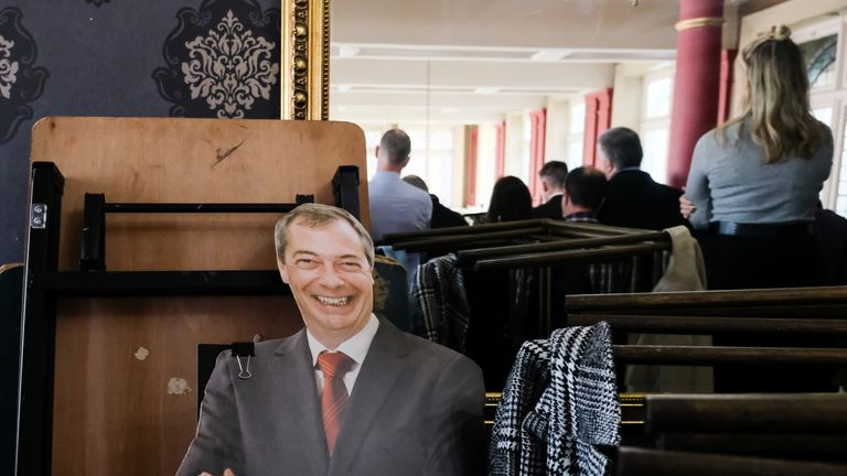 HARTLEPOOL, ENGLAND - NOVEMBER 11: A cardboard cutout of Brexit Party leader Nigel Farage can be seen on a balcony during the Brexit Party general election campaign tour at the Best Western Grand Hotel on November 11, 2019 in Hartlepool, England. During his speech, Farage announced that his party will not stand in 317 seats won by the Conservative Party in 2017. Britain goes to the polls on December 12 to vote in a pre-Christmas general election. (Photo by Ian Forsyth/Getty Images)