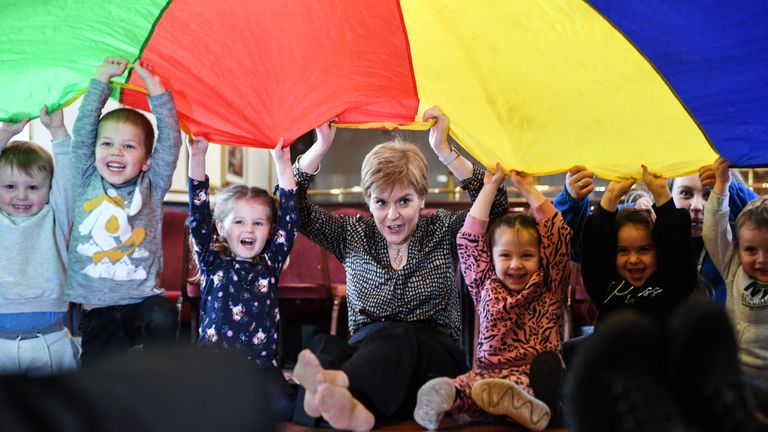 Scottish Nationalist Party (SNP) leader Nicola Sturgeon visits Blosson Tree children's nursery on November 12, 2019 in Edinburgh while on the campaign trail. - Britain goes to the polls on December 12 to vote in a pre-Christmas general election. (Photo by Andy Buchanan / AFP) (Photo by ANDY BUCHANAN/AFP via Getty Images)