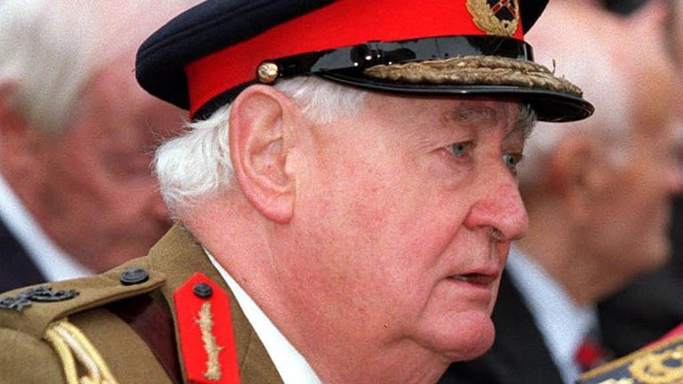 "File photo dated 24/09/00 of Lord Bramall who has described the past year since being interviewed by police in connection with historical child sex abuse as ""really awful""."