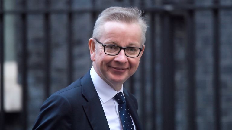 LONDON, ENGLAND - OCTOBER 2: Chancellor of the Duchy of Lancaster Michael Gove arrives at 10 Downing Street on October 2, 2019 in London, England. The UK government prepares to formally submit its finalised Brexit plan to the EU today. The offer replaces the Northern Irish Backstop with border, customs and regulatory checks lasting until 2025. The government are operating a skeleton front bench at Parliament whilst also attending conference in Manchester after being denied a recess. (Photo by Peter Summers/Getty Images)