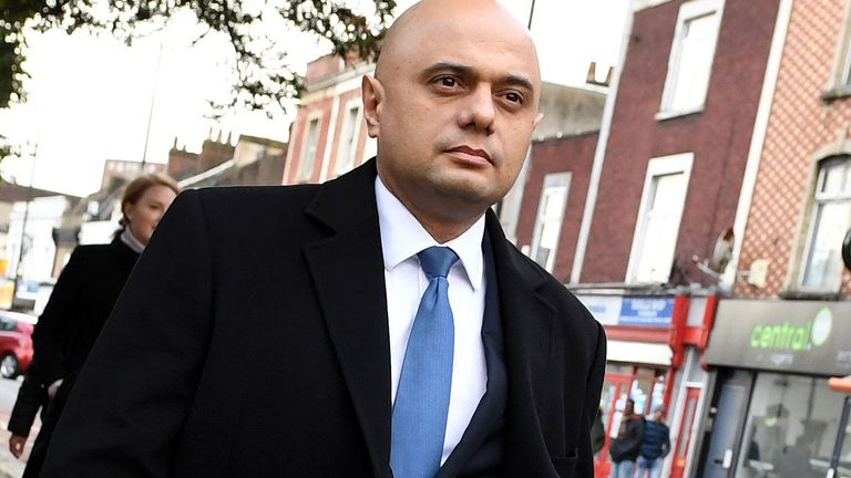 BRISTOL, ENGLAND - NOVEMBER 12: Chancellor of the Exchequer Sajid Javid visits his former home at Stapleton Road in Bristol on November 12, 2019 in Bristol, England. The United Kingdom will hold a general election on December 12. (Photo by Finnbarr Webster/Getty Images)