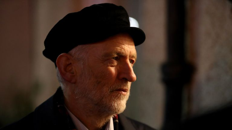 Labour Party leader Jeremy Corbyn canvassing in Govan, Glasgow, during General Election campaigning.