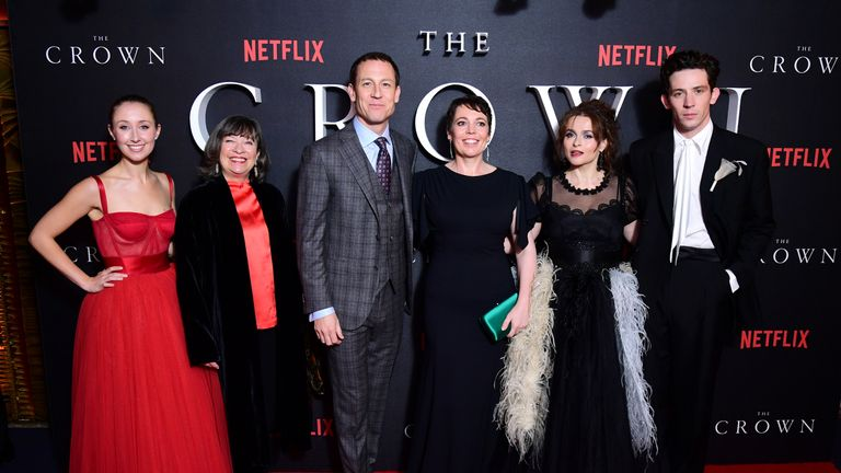 Erin Doherty, Marion Bailey, Tobias Menzies, Olivia Colman and Helena Bonham Carter and Josh O'Connor arriving for The Crown Season Three Premiere held at the Curzon Mayfair, London.