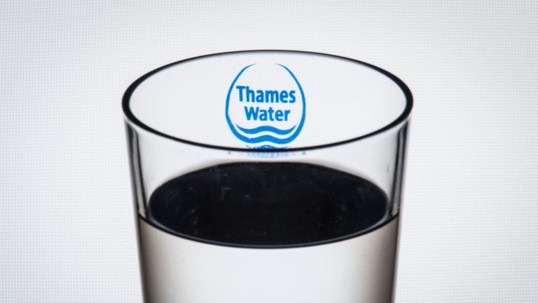 "File photo dated 2/8/2016 of the logo of water company Thames Water seen through a glass of water. Utilities regulator Ofwat has warned four water companies that it has ""substantial concerns"" over their business plans for the next five years."