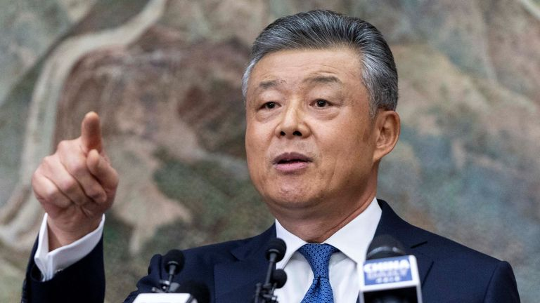 "China's ambassador to Britain Liu Xiaoming speaks to members of the media during a press conference relating to continuing unrest in Hong Kong, at the Chinese Embassy in London on November 18, 2019. - Beijing will not sit back and simply watch if the protests in Hong Kong become ""uncontrollable"", China's ambassador to Britain Liu Xiaoming warned at a London news conference on Monday. ""If the situation becomes uncontrollable the central government would certainly not sit on our hands and watch,"" he told reporters in London, adding: ""We have enough resolution and power to end the unrest."" (Photo by Niklas HALLE'N / AFP) (Photo by NIKLAS HALLE'N/AFP via Getty Images)"