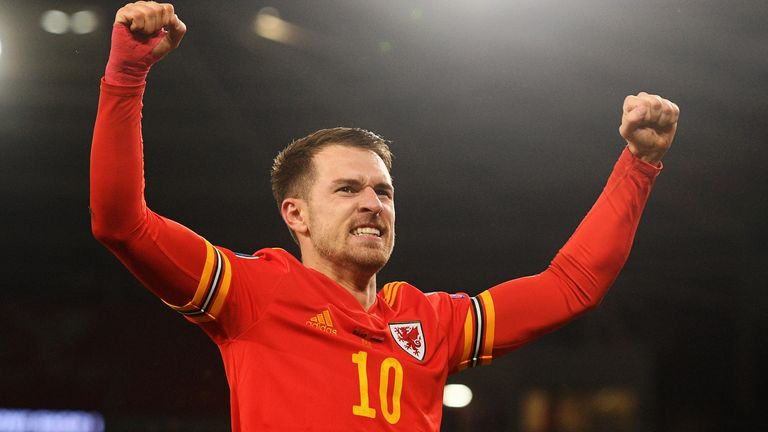 CARDIFF, WALES - NOVEMBER 19: Aaron Ramsey of Wales celebrates after he scores his sides second goal during the UEFA Euro 2020 qualifier between Wales and Hungary so at Cardiff City Stadium on November 19, 2019 in Cardiff, Wales. (Photo by Harry Trump/Getty Images)