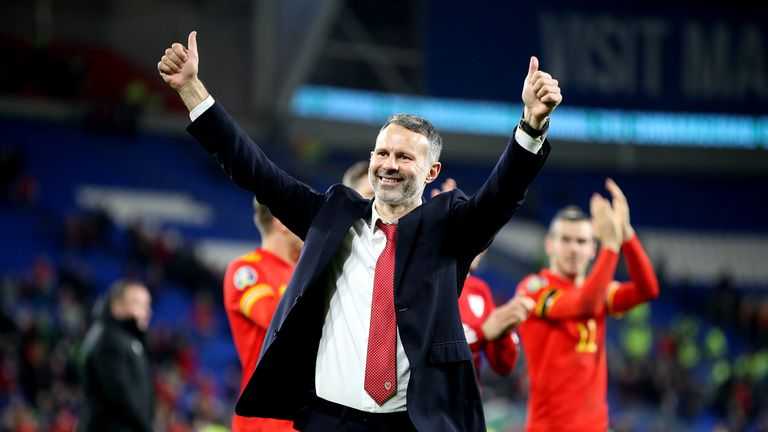 Wales' manager Ryan Giggs celebrates victory and qualification after the UEFA Euro 2020 Qualifying match at the Cardiff City Stadium.