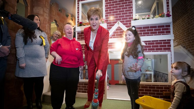 SNP leader Nicola Sturgeon plays with local children during a visit to the Jelly Tots & Cookies Play Cafe in Uddingston, South Lanarkshire.