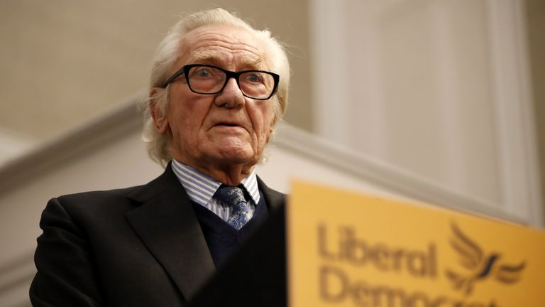 Expelled Conservative MP Michael Heseltine attends a Liberal Democrats press conference in London on November 27, 2019, where they discussed Brexit, and the forthcoming General Election. - Britain will go to the polls on December 12, 2019 to vote in a pre-Christmas general election. (Photo by Tolga AKMEN / AFP) (Photo by TOLGA AKMEN/AFP via Getty Images)