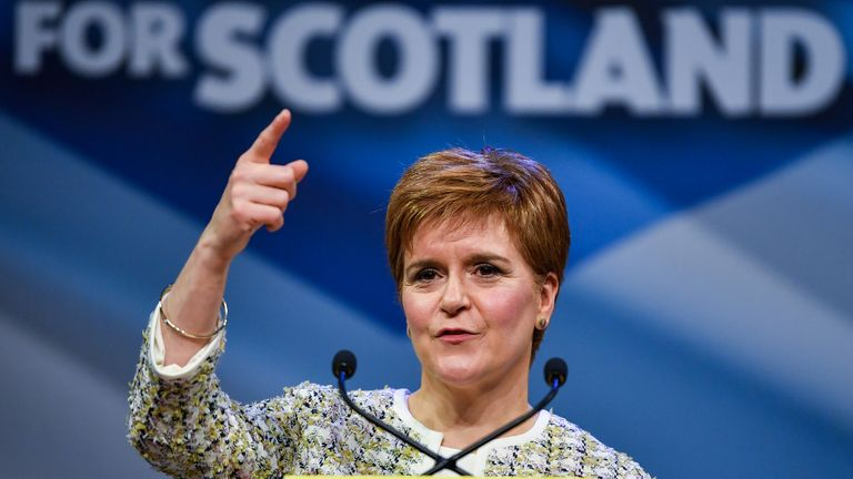 "GLASGOW, SCOTLAND - NOVEMBER 27:  First Minister of Scotland and leader of the Scottish National Party, Nicola Sturgeon launches the SNP's general election manifesto at SWG3 studio warehouse on November 27, 2019 in Glasgow, Scotland. During her speech the SNP leader said that a vote for her party on December 12 will be a vote to ""escape Brexit and put Scotland's future in Scotland's hands"". (Photo by Jeff J Mitchell/Getty Images)"