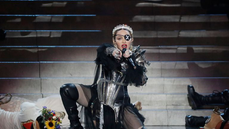 TEL AVIV, ISRAEL - MAY 18: Madonna, performs live on stage after the 64th annual Eurovision Song Contest held at Tel Aviv Fairgrounds on May 18, 2019 in Tel Aviv, Israel. (Photo by Michael Campanella/Getty Images)