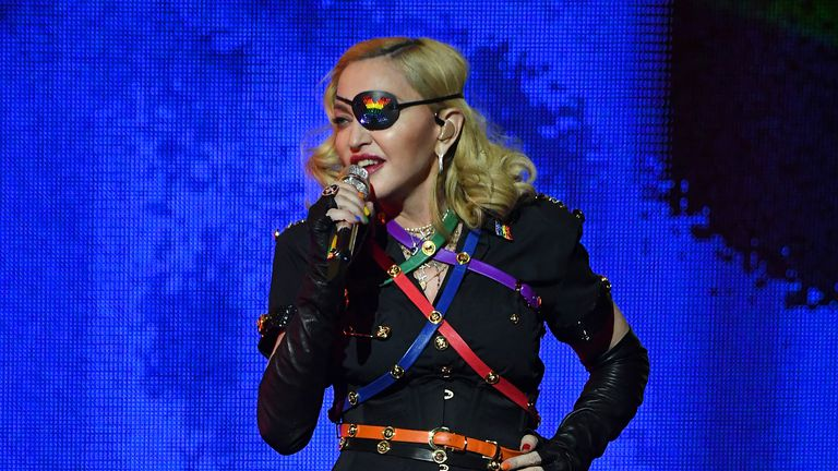 NEW YORK, NEW YORK - JUNE 30:  Madonna performs onstage during Pride Island - WorldPride NYC 2019 at Pier 97 on June 30, 2019 in New York City. (Photo by Kevin Mazur/Getty Images for Pride Island)