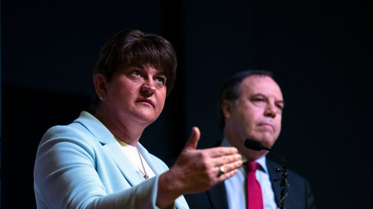 BELFAST, NORTHERN IRELAND - NOVEMBER 28: DUP leader Arlene Foster delivers the Democratic Unionist party manifesto alongside deputy leader Nigel Dodds during a press conference on November 28, 2019 in Belfast, Northern Ireland. The DUP have propped up the Conservative minority government in a confidence and supply deal since the last general election at Westminster. (Photo by Charles McQuillan/Getty Images)