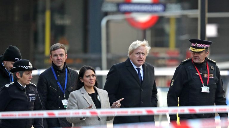 Metropolitan Police Commissioner, Cressida Dick (left), Home Secretary, Priti Patel, Prime Minister Boris Johnson and Commissioner of the City of London Police, Ian Dyson (right) attend the London Bridge crime scene in central London after a terrorist wearing a fake suicide vest who went on a knife rampage killing two people, was shot dead by police.