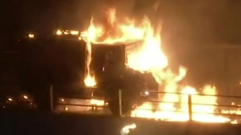 Police vehicle on fire in Hong Kong