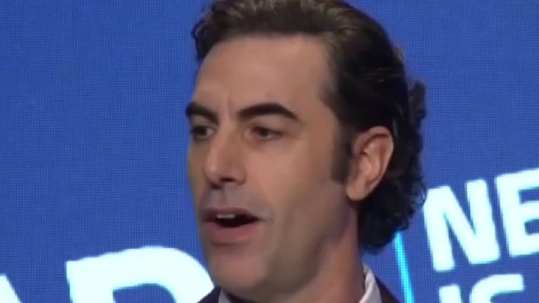 Sacha Baron Cohen speaking at ADL event and hits out at social media firms