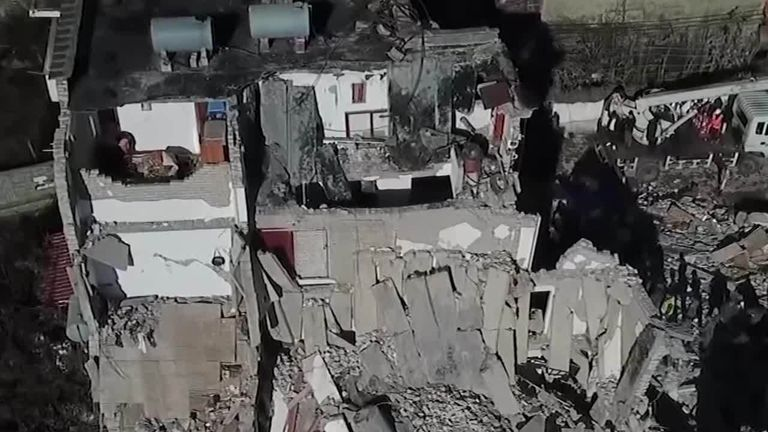 Drone footage of the aftermath of an earthquake in Albania