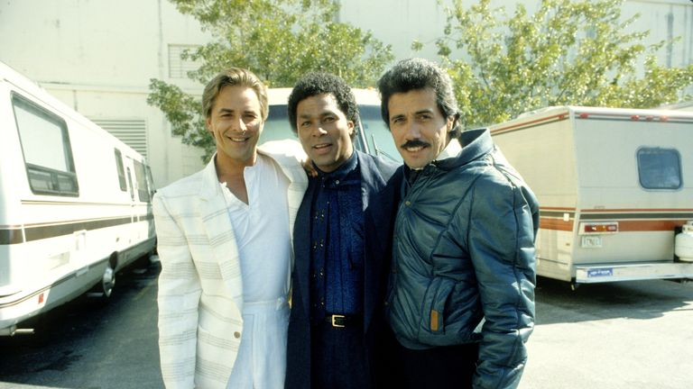 Don Johnson, Philip Michael Thomas and Edward James Olmos on the set of Miami Vice