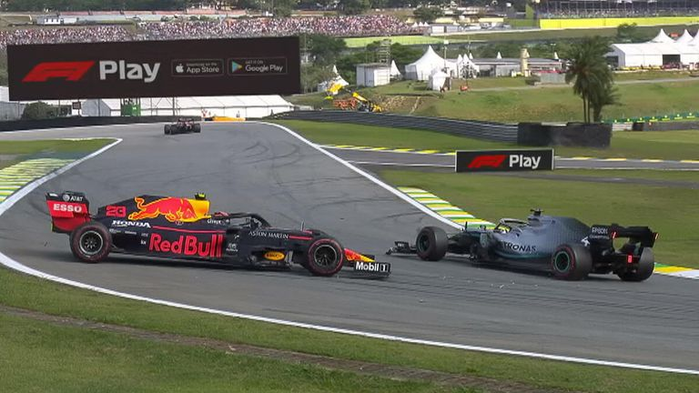 Lewis Hamilton hits Alexander Albon, taking him out of the Brazilian GP allowing Pierre Gasly through to finish second