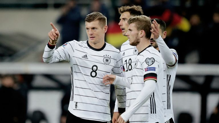 Highlights of Germany's 4-0 win against Belarus in Group C of the Euro 2020 Qualifiers