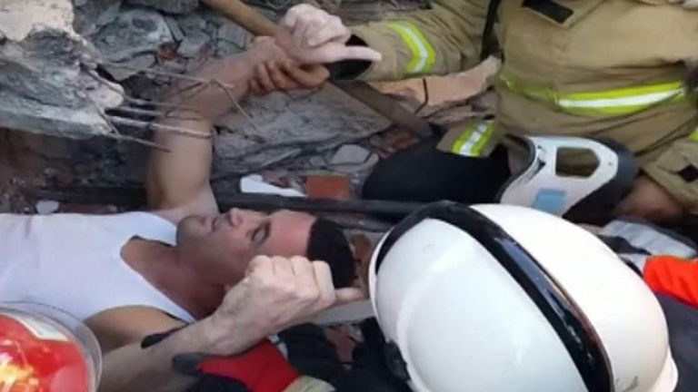 Man pulled out from under the rubble in Albania