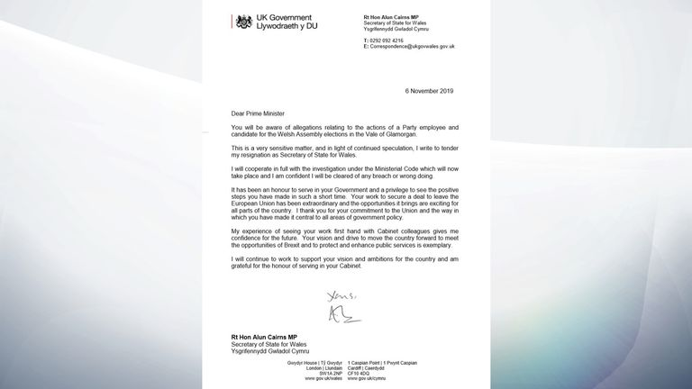 Alun Cairns resignation letter to the PM