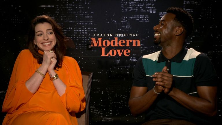 Stars of a new TV show Anne Hathaway and Gary Carr talk to Sky News about modern love.