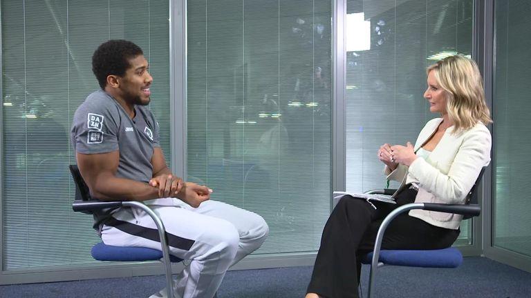 Joshua speaking to Sky Sports presenter Jacquie Beltrao