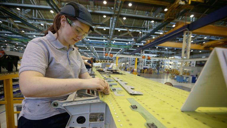 An Airbus A380 wing is seen during construction at the Airbus SAS factory on November 7, 2013 in Broughton, United Kingdom. The Airbus wing plant assembles the wings for all Airbus civil aircraft, including the new A350 XWB.