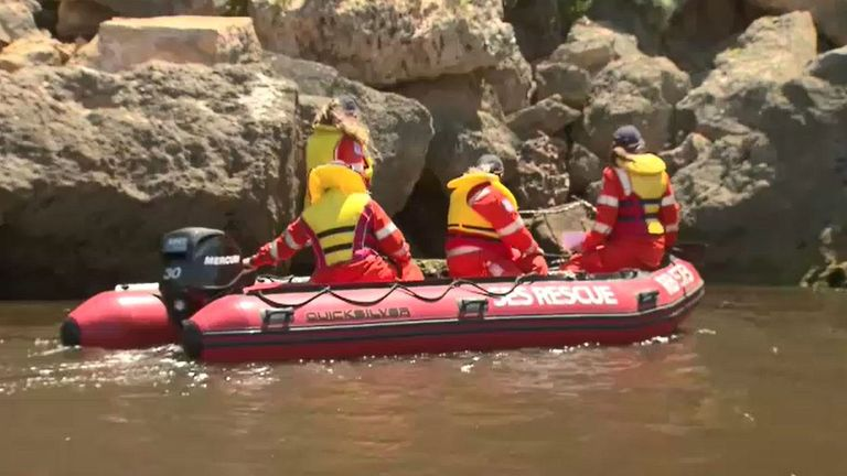 Police have been using dinghies to check the coastline. Pic: Nine News Australia/PA Wire