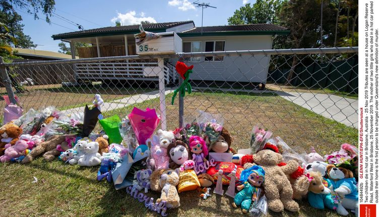 tributes at a house on Logan Reserve Road, Waterford West in Brisbane