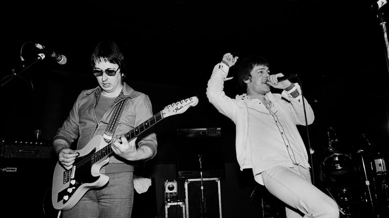British rock group Eddie and the Hot Rods perform onstage at Tuts nightclub, Chicago, Illinois, January 17, 1981. Pictured are Dave Higgs (left) and Barrie Masters