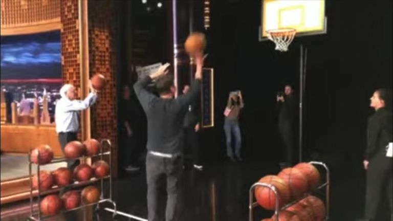Bernie Sanders joined Jimmy Fallon on The Tonight Show to practice his basketball skills and discuss his upcoming presidential campaign.