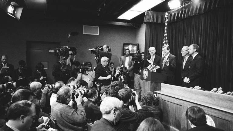 WASHINGTON D.C. -- JANUARY 9: Senate Majority Leader Trent Lott and fellow Republican Sen. Phil Gramm of Texas talk to reporters at a news conference during the Senate Impeachment Trial of Bill Clinton, Jan. 9, 1999 in Washington, DC. (Photo by David Hume Kennerly/Getty Images)