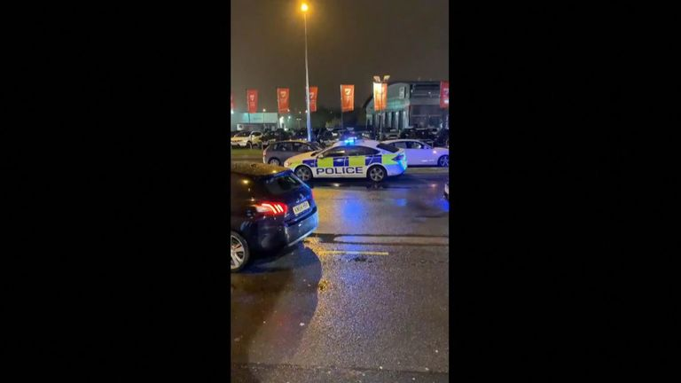 Police arrive at an entertainment complex in Birmingham after reports of people with machetes. Pic: @Yuuvvii