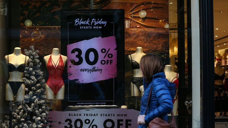 LONDON, ENGLAND - NOVEMBER 20: A Boux Avenue advertise ahead of the Black Friday sales on November 20, 2019 in London, England. (Photo by Hollie Adams/Getty Images)
