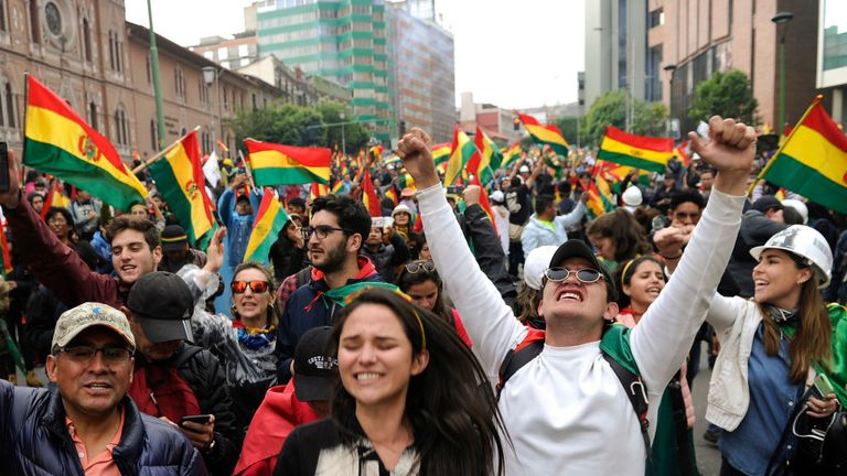 People take to the streets of La Paz to celebrate