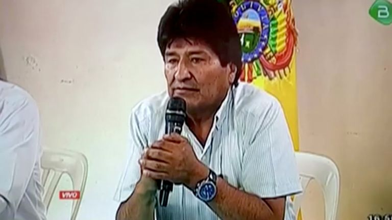 President Evo Morales announces his resignation on Bolivian government TV