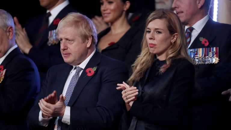 Prime Minister Boris Johnson and his partner Carrie Symonds were sat near the royals at the event