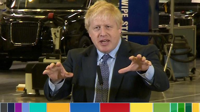 Boris Johnson gives a speech in Warwickshire