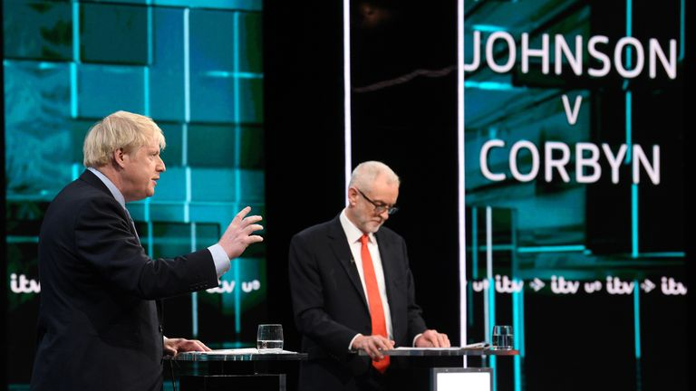 Boris Johnson and Jeremy Corbyn answer questions during the ITV Leaders Debate