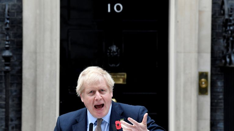 Boris Johnson makes a statement to announce the general election at Downing Street